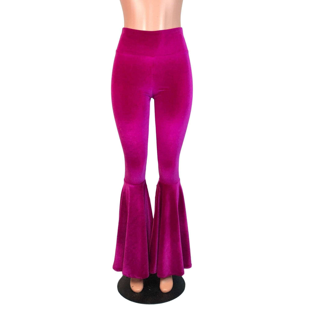 High Waist Bell Bottoms - Fuchsia Pink Velvet - Peridot Clothing