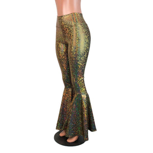 High Waist Bell Bottoms - Gold on Black Shattered Glass - Peridot Clothing