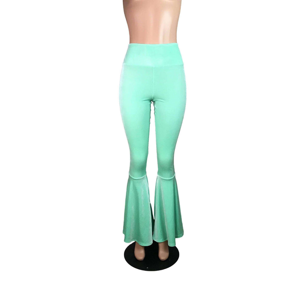 High Waist Bell Bottoms - Mint Green Velvet - Peridot Clothing
