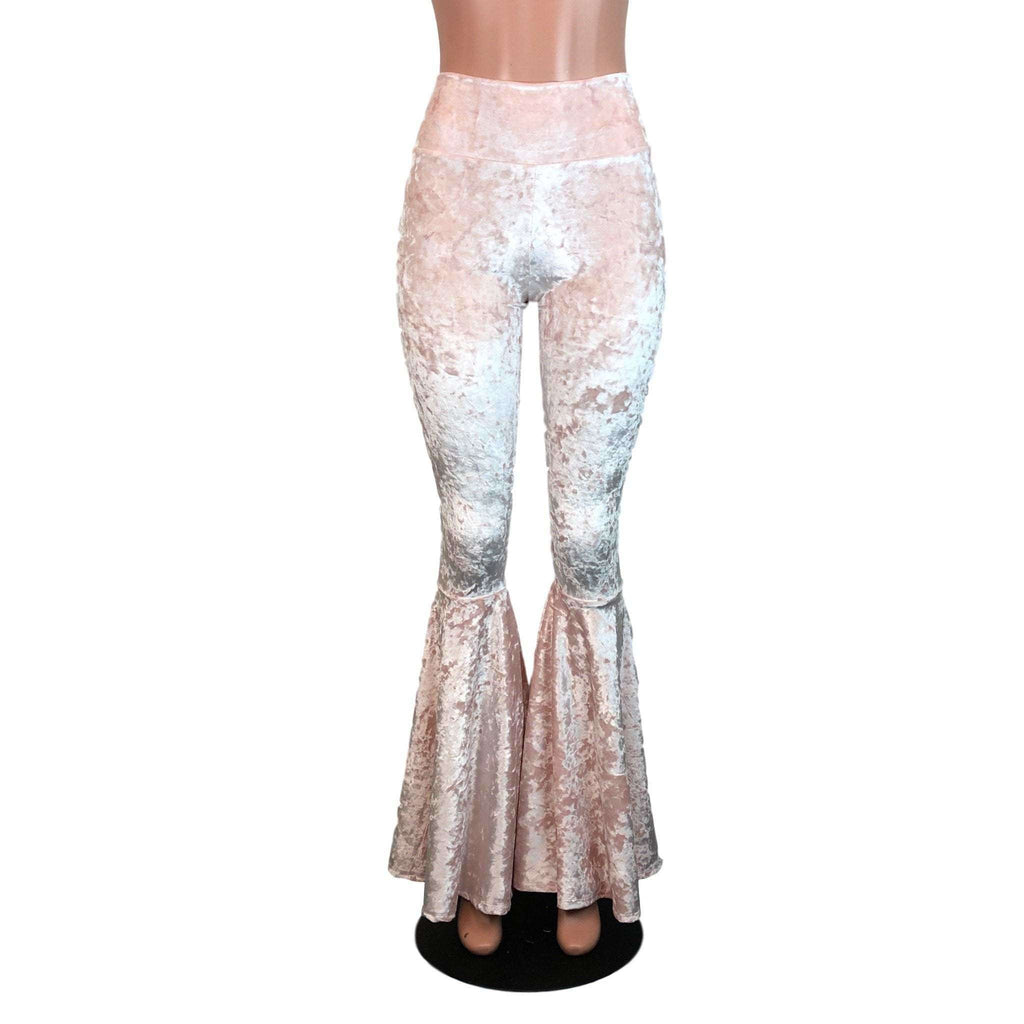 High Waist Bell Bottoms - Petal Pink Crushed Velvet - Peridot Clothing