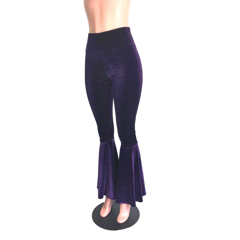 High Waist Bell Bottoms - Purple Velvet - Peridot Clothing