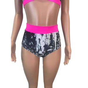 High Waist Hot Pants - Black & White w/ Hot Pink - Peridot Clothing