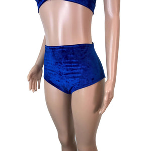 High Waist Hot Pants - Blue Crushed Velvet - Peridot Clothing