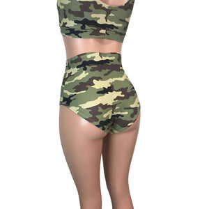High Waist Hot Pants - Camouflage - Peridot Clothing