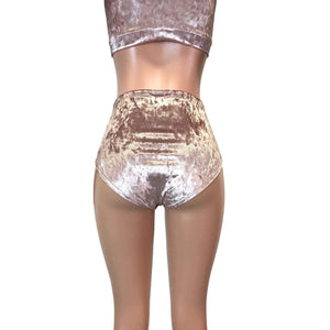 High Waist Hot Pants - Dusty Pink Crushed Velvet - Peridot Clothing