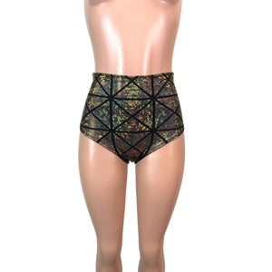 High Waist Hot Pants - Gold Glass Pane Holographic - Peridot Clothing