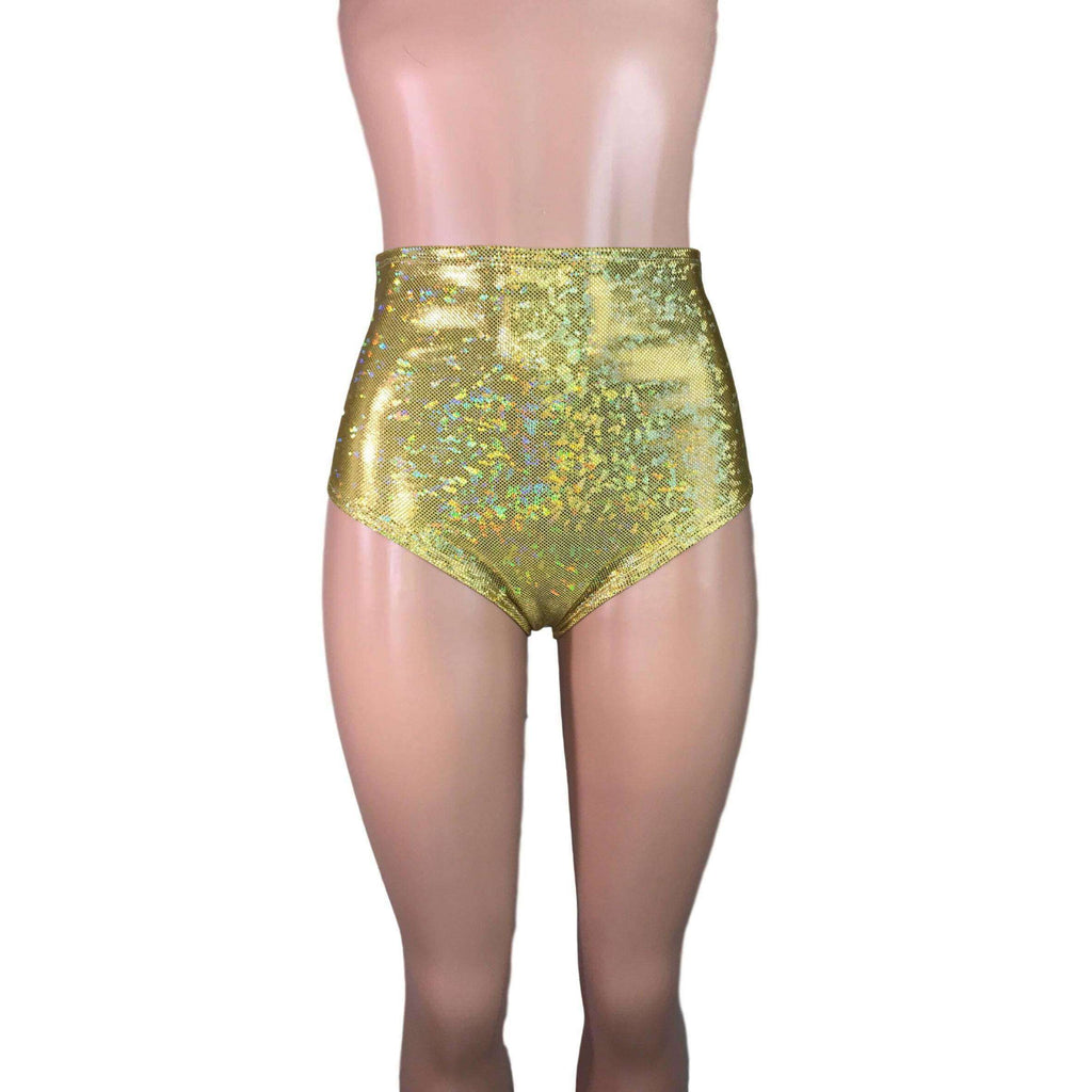 High Waist Hot Pants - Gold Shattered Glass - Peridot Clothing