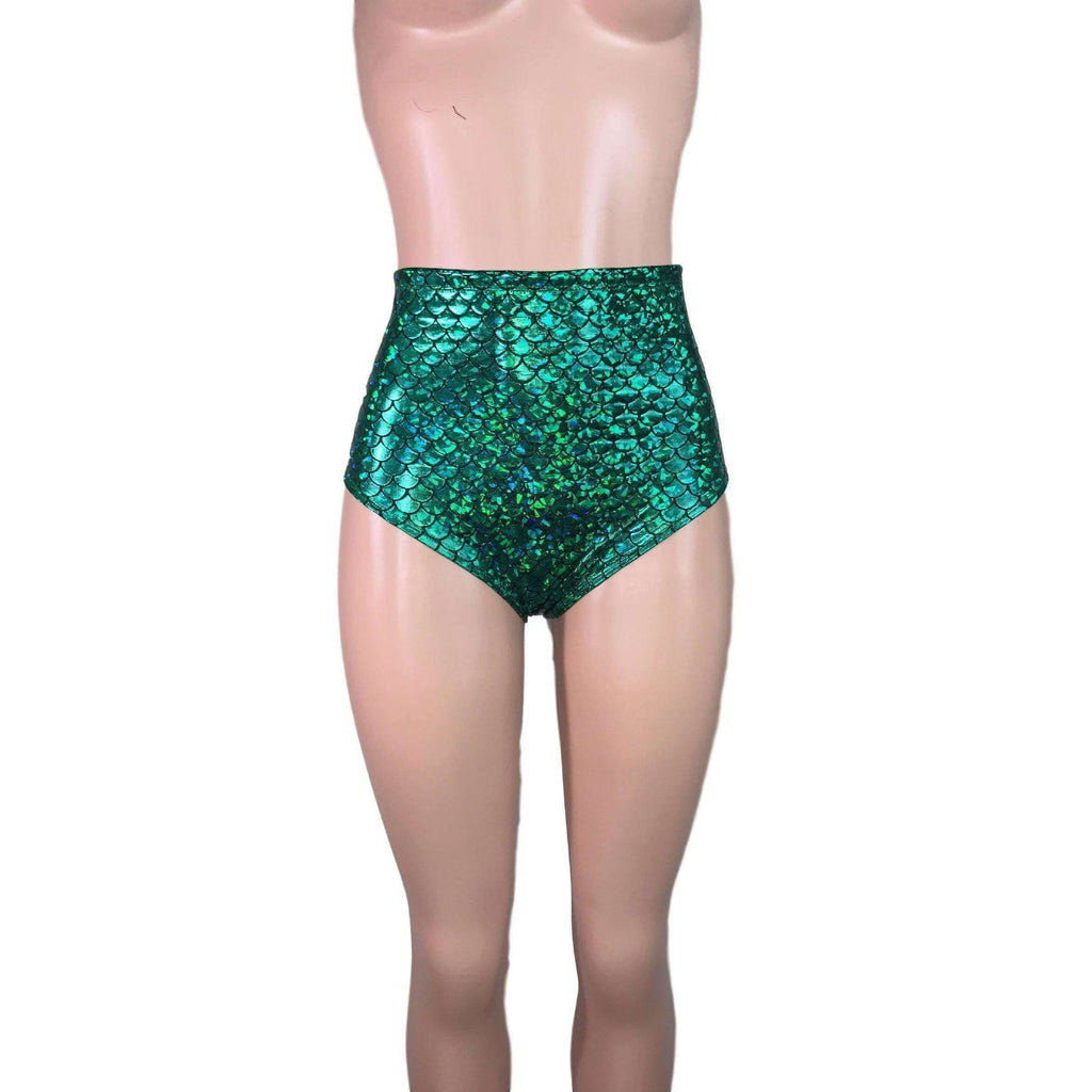 High Waist Hot Pants - Green Mermaid Scales - Peridot Clothing