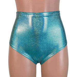 High Waist Hot Pants - Jade Blue Holographic - Peridot Clothing
