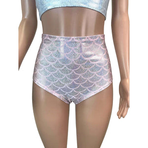 High Waist Hot Pants - Light Pink Mermaid Scales - Peridot Clothing