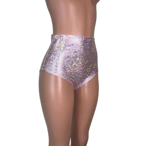 High Waist Hot Pants - Light Pink Shattered Glass - Peridot Clothing