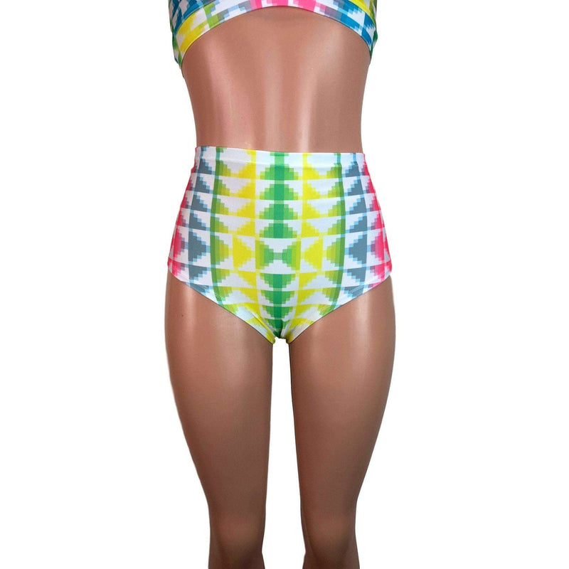 High Waist Hot Pants - Neon Tetris - Peridot Clothing