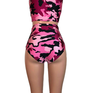 High Waist Hot Pants - Pink Camo - Peridot Clothing