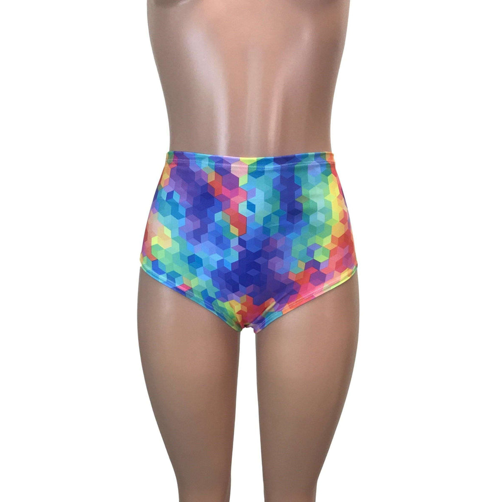 High Waist Hot Pants - Rainbow Geo - Peridot Clothing