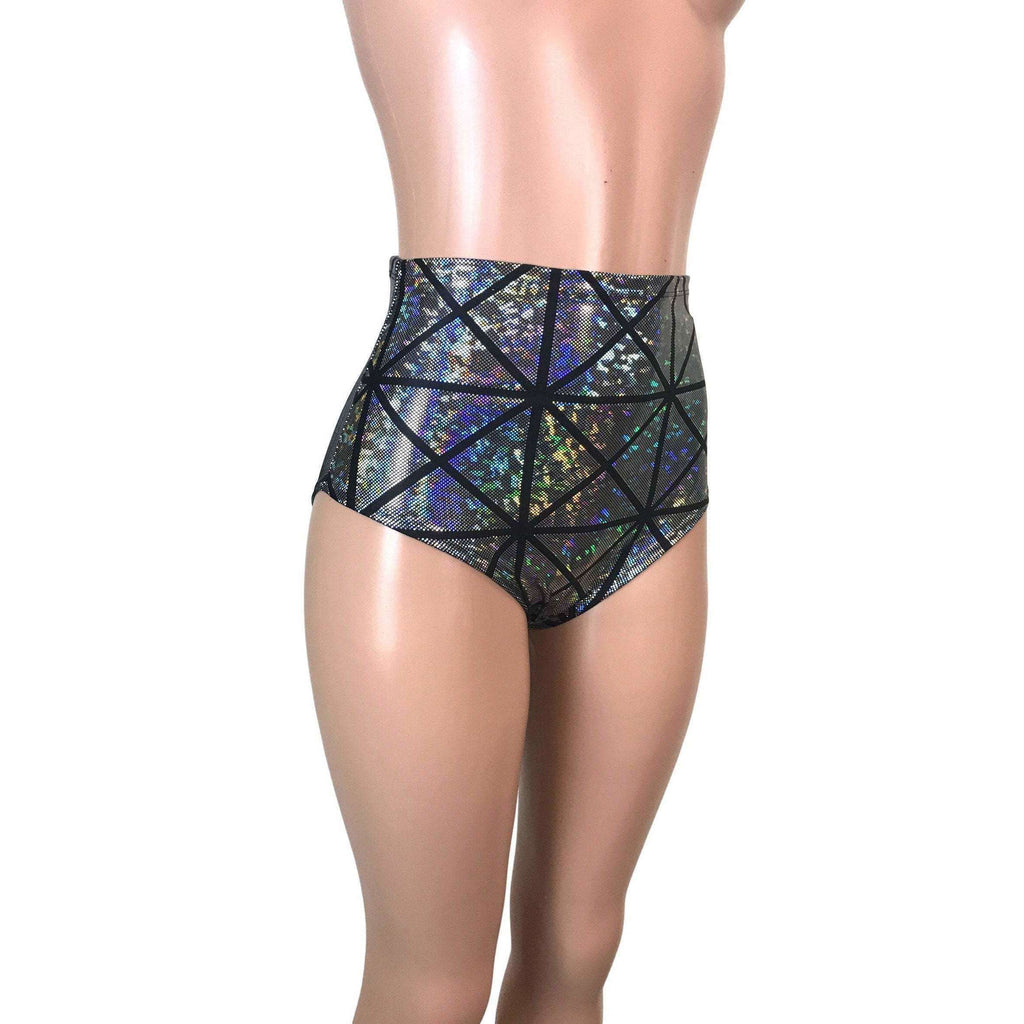 High Waist Hot Pants - Silver Glass Pane - Peridot Clothing