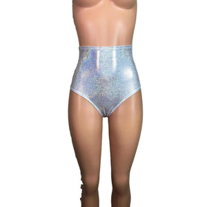 High Waist Hot Pants - Silver Holographic - Peridot Clothing