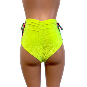 High Waist Lace-Up Scrunch Bikini - Neon Yellow Crushed Velvet - Peridot Clothing
