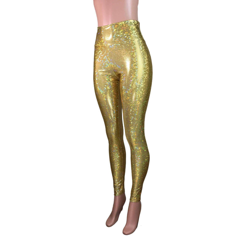 High Waist Leggings - Gold Shattered Glass Holographic Pants - Peridot Clothing