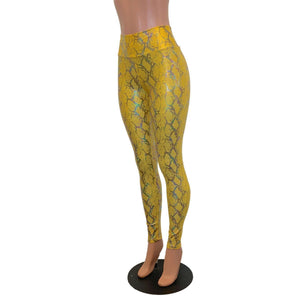 High Waist Leggings - Yellow Snakeskin Holographic - Peridot Clothing