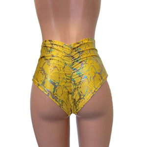 High Waist Scrunch Bikini - Yellow Holographic Snakeskin - Peridot Clothing