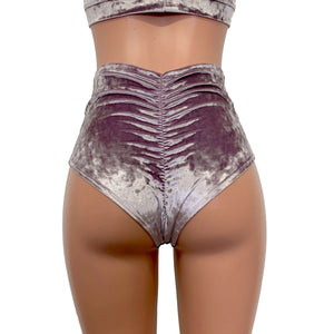 High Waist Scrunch Bikini Hot Pants - Dusty Lilac Crushed Velvet - Peridot Clothing