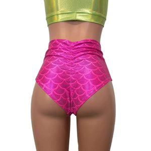 High Waist Scrunch Bikini Hot Pants - Hot Pink Mermaid Scale - Peridot Clothing
