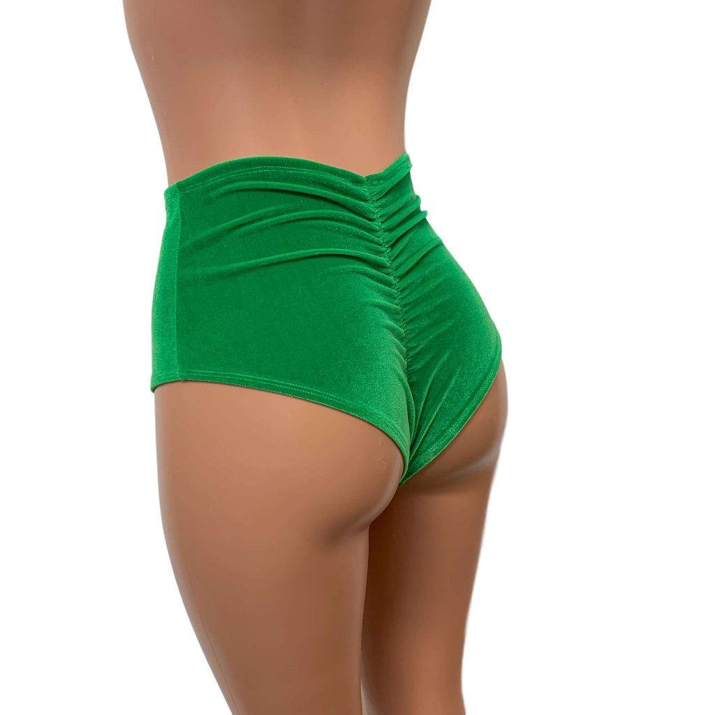 High Waist Scrunch Bikini Hot Pants - Kelly Green Velvet - Peridot Clothing