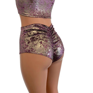 High Waist Scrunch Bikini Hot Pants - Plum/Gunmetal Gilded Velvet - Peridot Clothing