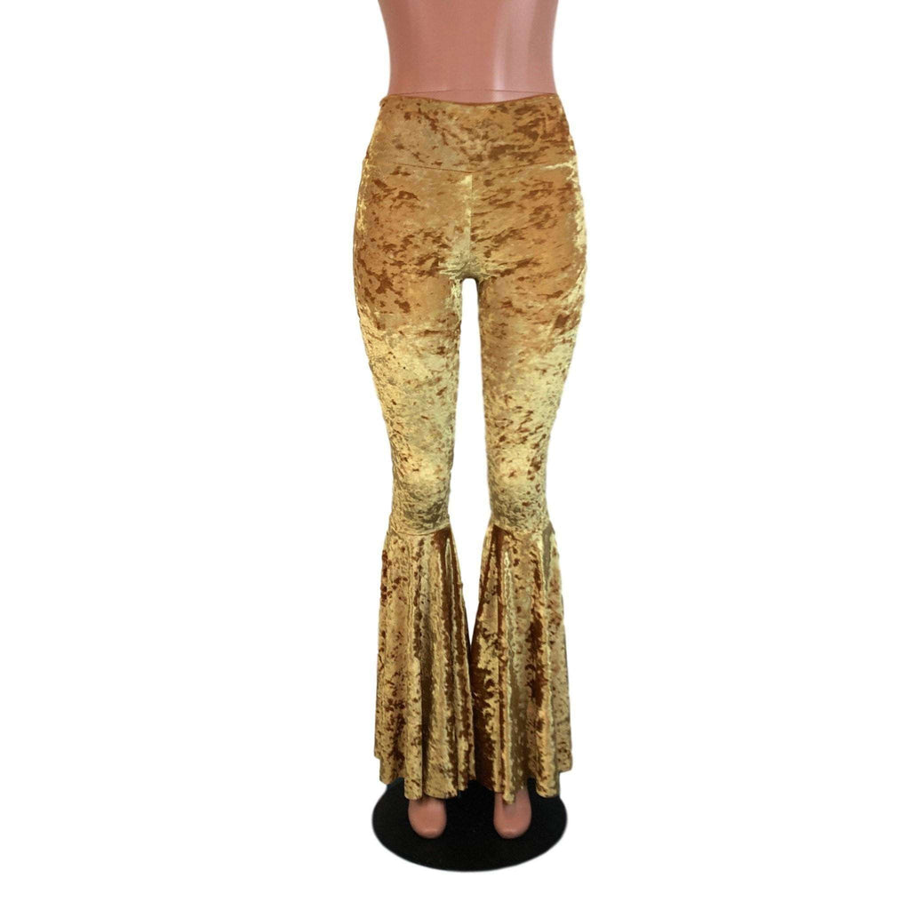 High Waisted Bell Bottom Flares - Gold Crushed Velvet - Peridot Clothing