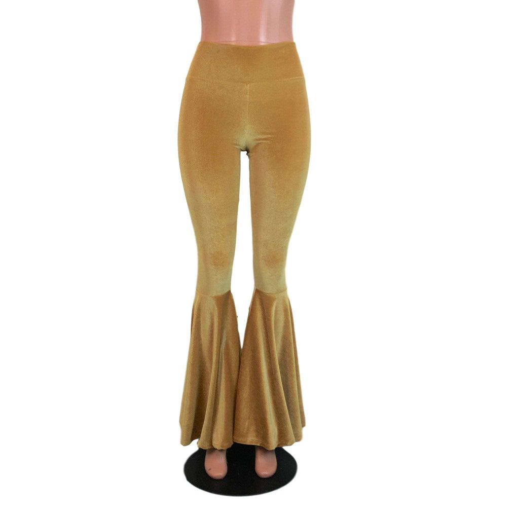 High Waisted Bell Bottom Flares - Gold Velvet - Peridot Clothing