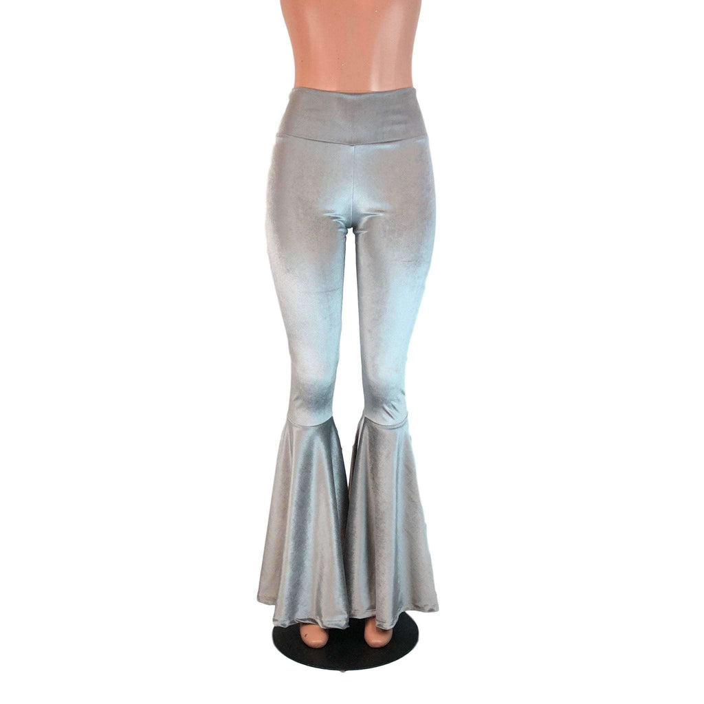 High Waisted Bell Bottom Flares - Silver Gray Velvet - Peridot Clothing