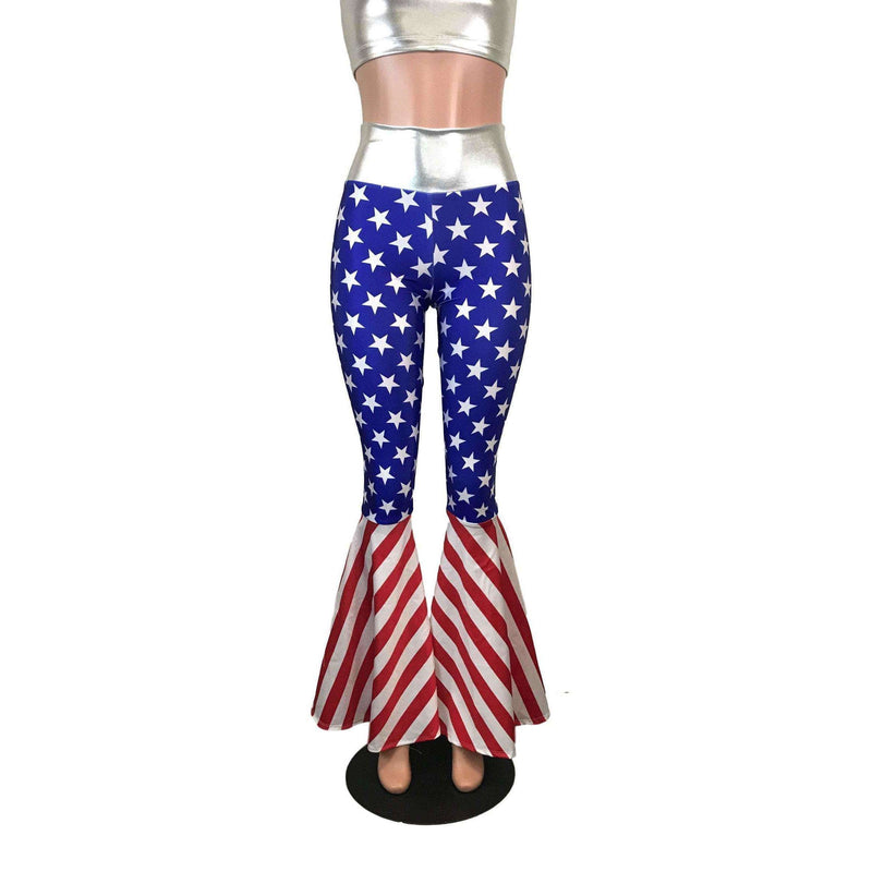 High Waisted Bell Bottom Flares - Stars & Stripes Flag - Peridot Clothing