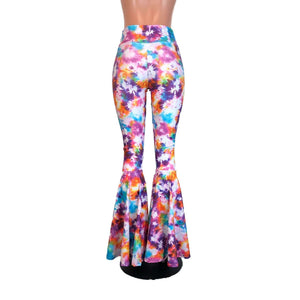 High Waisted Bell Bottom Flares - Tie Dye Blitz - Peridot Clothing