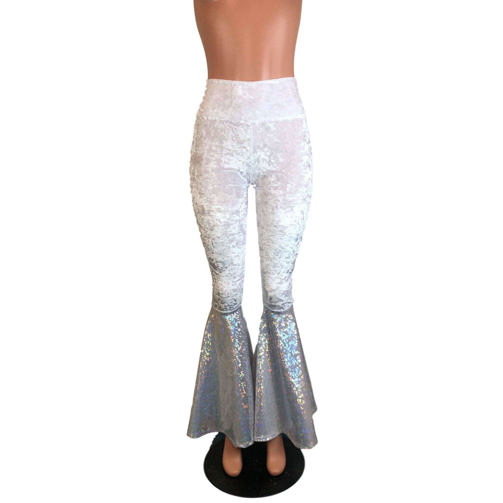 High Waisted Bell Bottom Flares - White Crushed Velvet w/ Silver Shattered Glass - Peridot Clothing