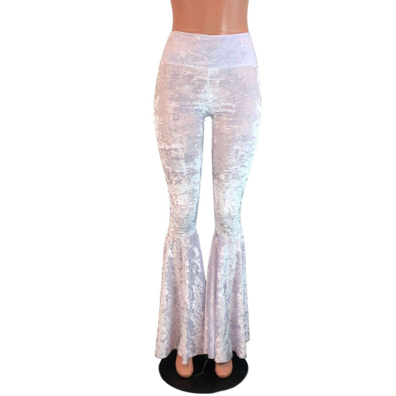 High Waisted Bell Bottom Flares - White Crushed Velvet - Peridot Clothing