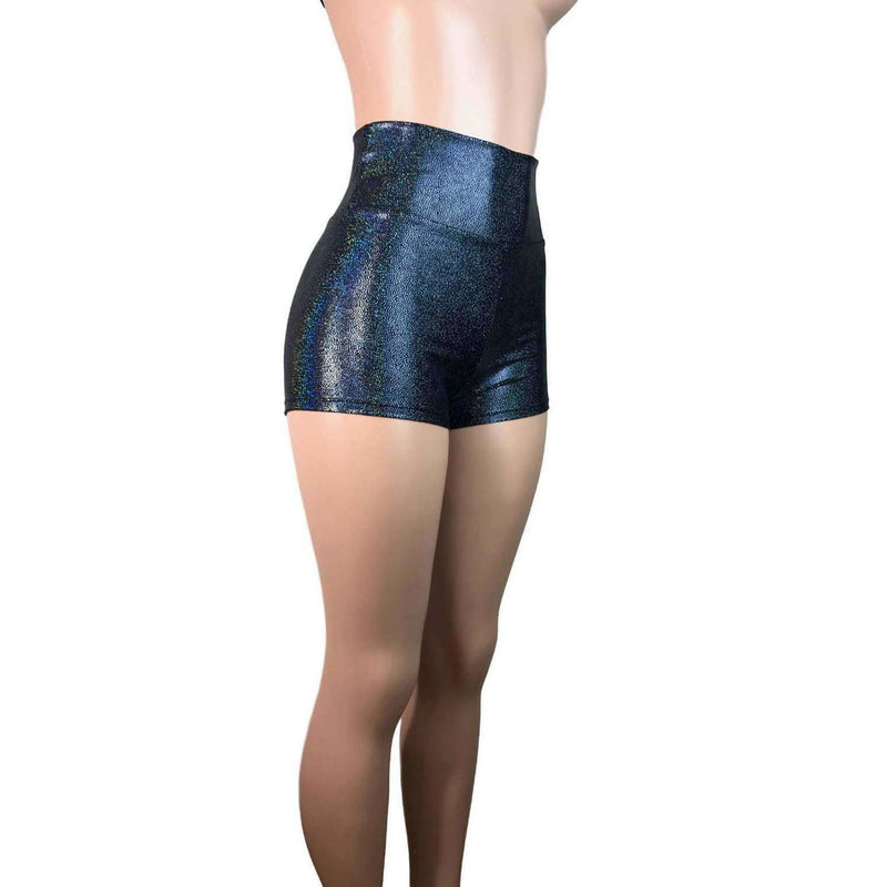 High Waisted Booty Shorts - Black Holographic - Peridot Clothing