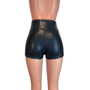 High Waisted Booty Shorts - Black Sparkle - Peridot Clothing