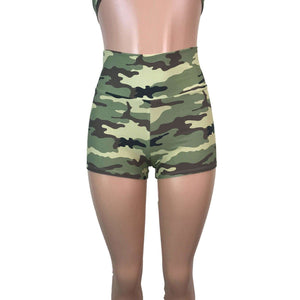 High Waisted Booty Shorts - Camo, women's shorts