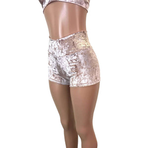 High Waisted Booty Shorts - Dusty Pink Crushed Velvet - Peridot Clothing