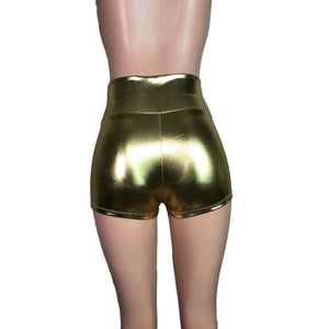 High Waisted Booty Shorts - Gold Metallic - Peridot Clothing