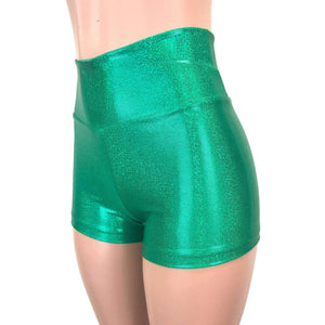 High Waisted Booty Shorts - Green Sparkle - Peridot Clothing