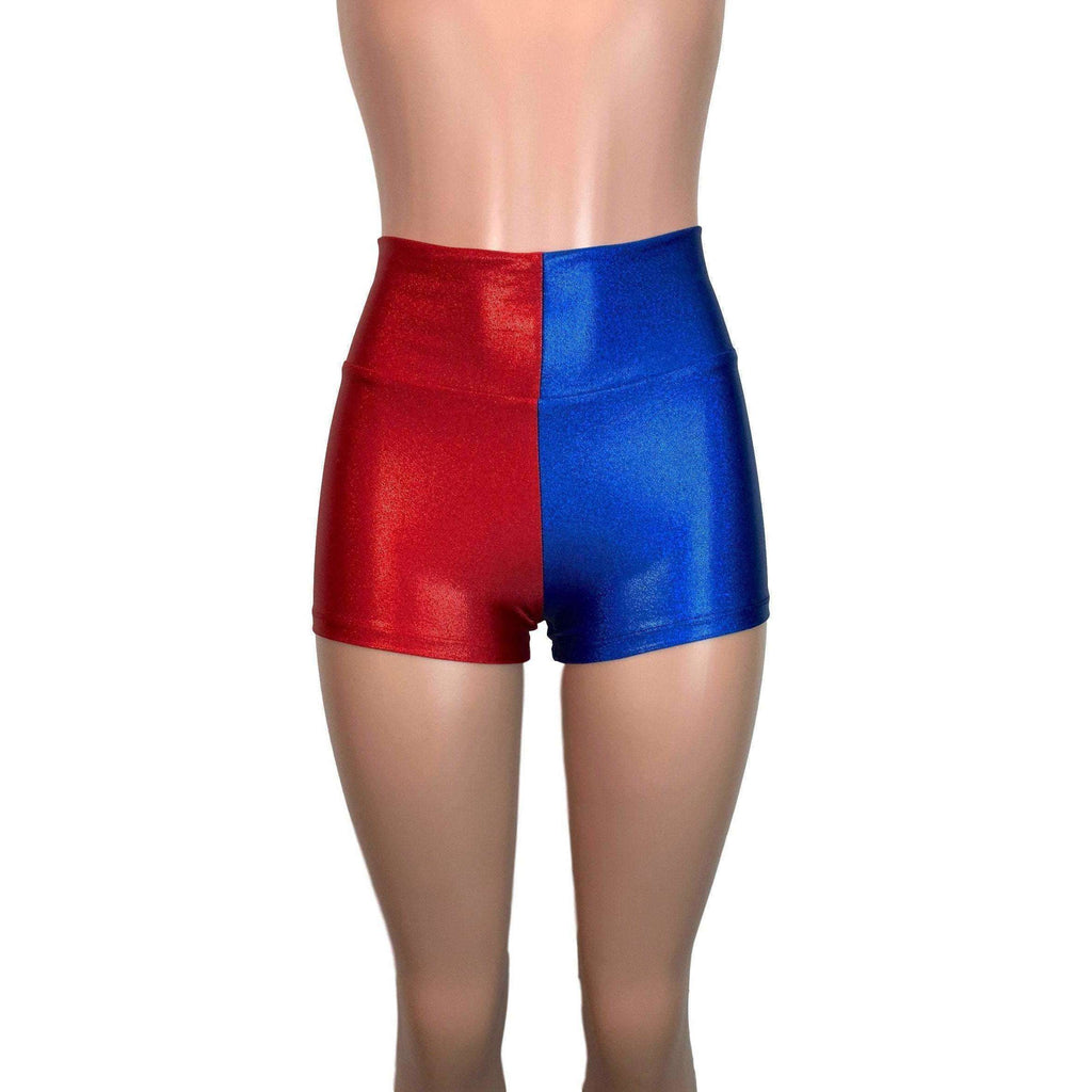 High Waisted Booty Shorts - Harley Quinn Blue/Red Mystique - Peridot Clothing