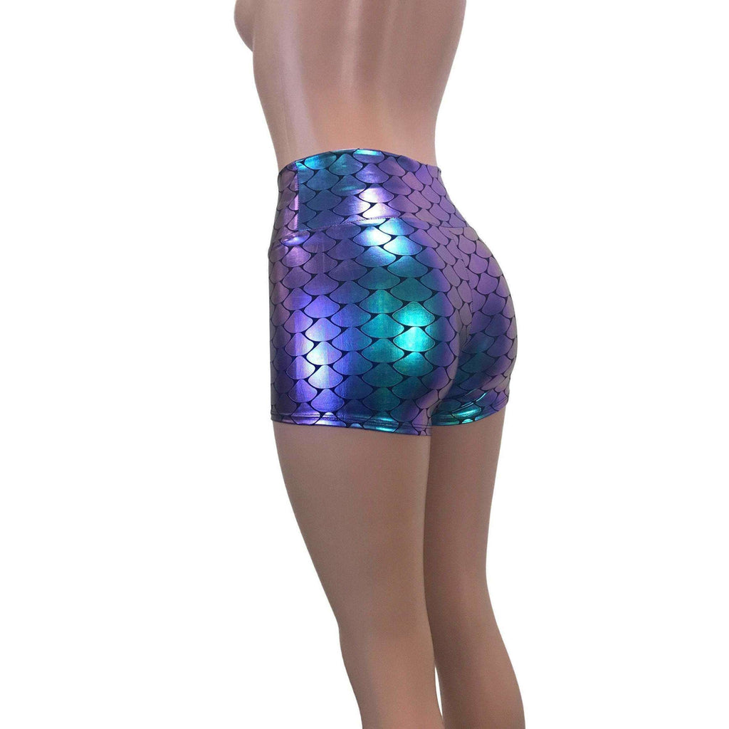 High Waisted Booty Shorts - Holographic Mermaid Scales - Peridot Clothing