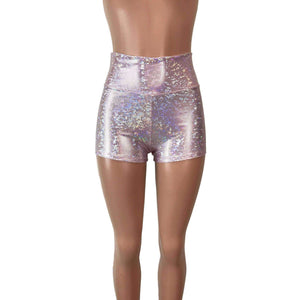 High Waisted Booty Shorts - Light Pink Shattered Glass - Peridot Clothing
