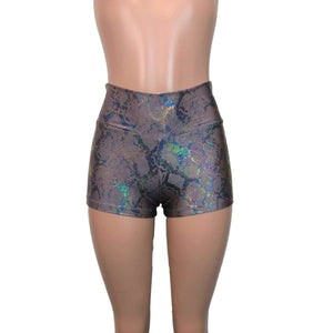 High Waisted Booty Shorts - Mauve Snakeskin Holographic - Peridot Clothing