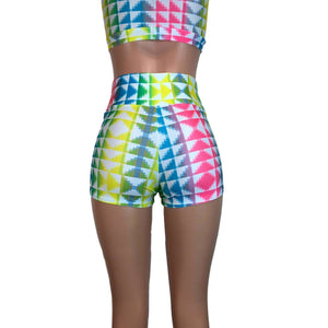 High Waisted Booty Shorts - Neon Tetris - Peridot Clothing