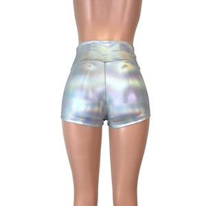 High Waisted Booty Shorts - Opal Holographic - Peridot Clothing