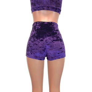 High Waisted Booty Shorts - Purple Crushed Velvet - Peridot Clothing
