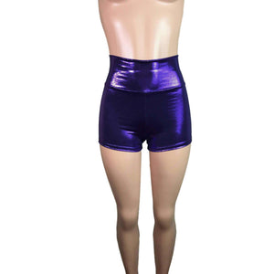 High Waisted Booty Shorts - Purple Mystique - Peridot Clothing