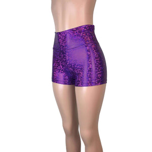 High Waisted Booty Shorts - Purple Shattered Glass - Peridot Clothing